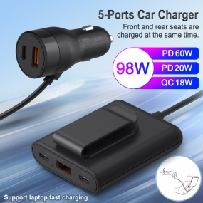 5-Port Car Charger 98W