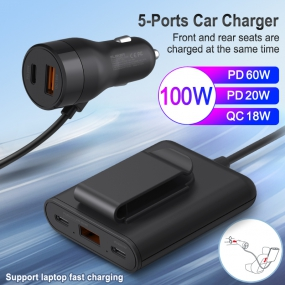 5-Port Car Charger 100W