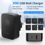 30W Travel Power Adapter With PD&QC3.0