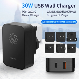 30W USB Power Adapter With PD&QC3.0