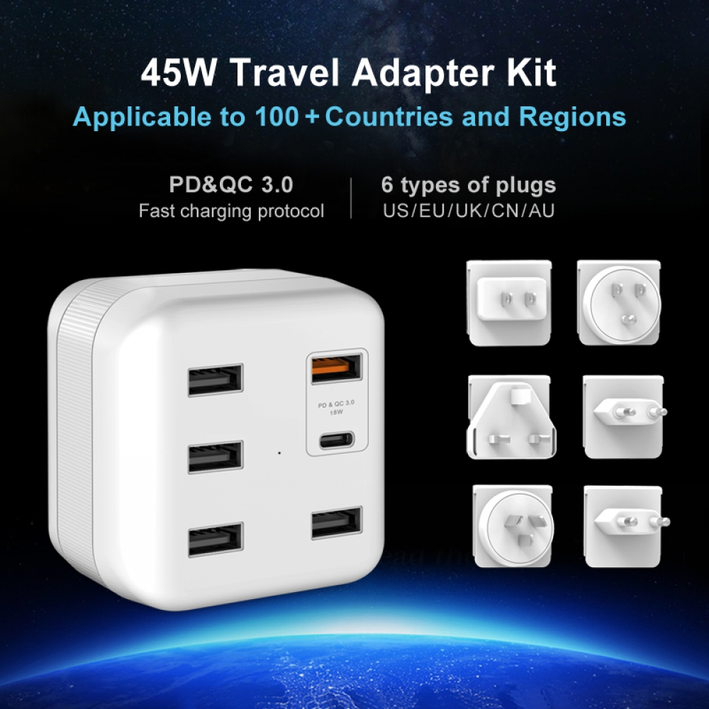 Travel Adapter KIT With PD+QC3.0