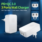 3 USB Wall Charger  With PD&QC3.0