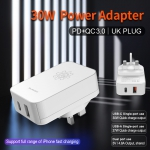 Dual Port Wall Charger With PD+QC3.0