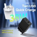 2 USB Power Adapter 38W